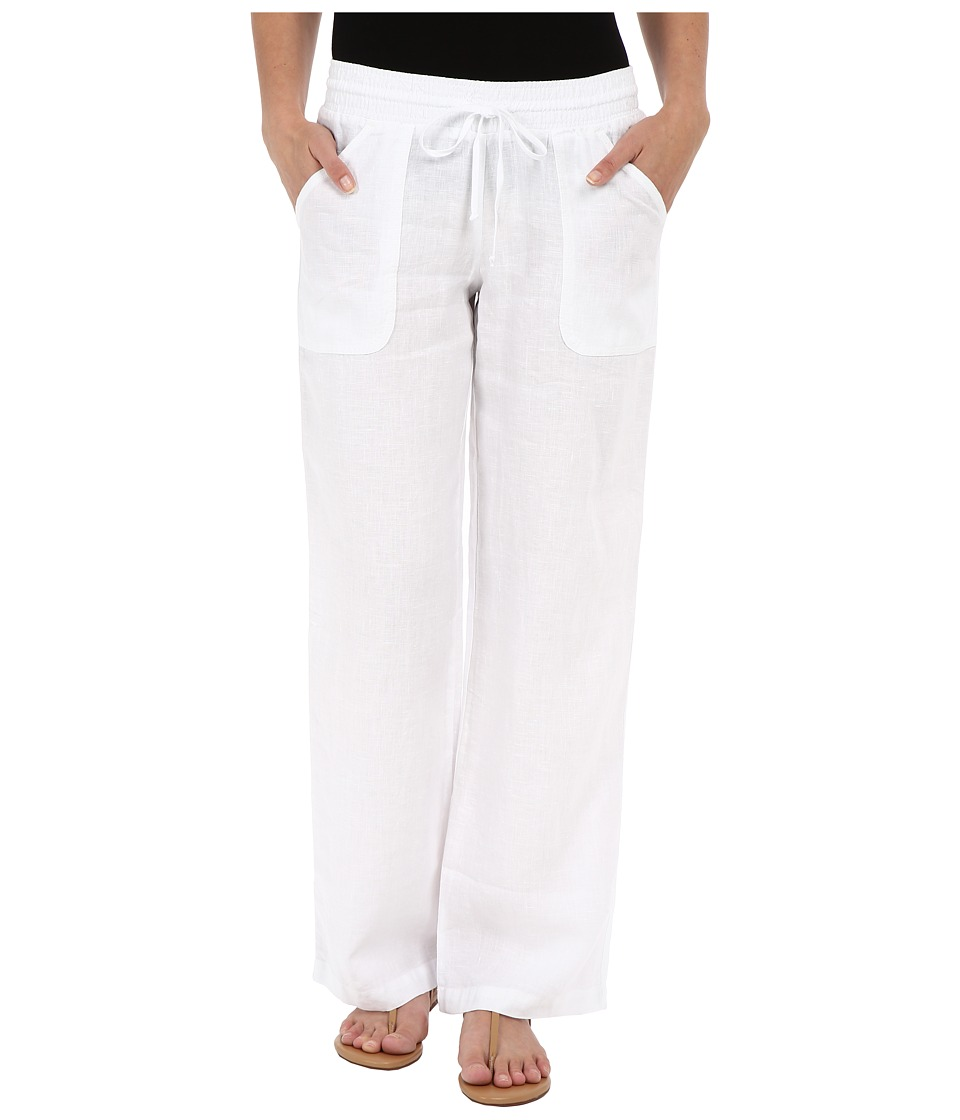 Allen Allen - Linen Long Cargo Pants (White) Women's Casual Pants