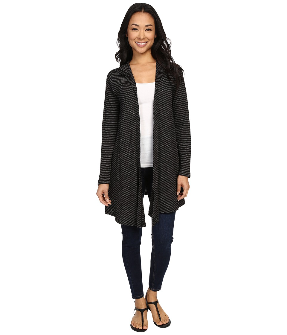 Allen Allen - Stripe Hooded Cardigan (Black) Women's Sweater