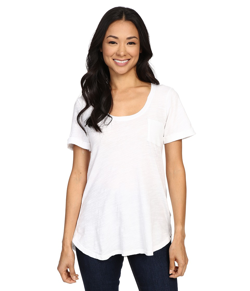 Allen Allen - Slub Short Roll Sleeve Pocket Tee (White) Women's Short Sleeve Pullover