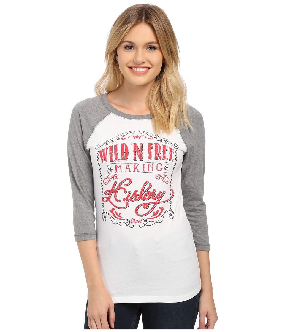 Cruel - 3/4 Sleeve Raglan Tee (White) Women's T Shirt
