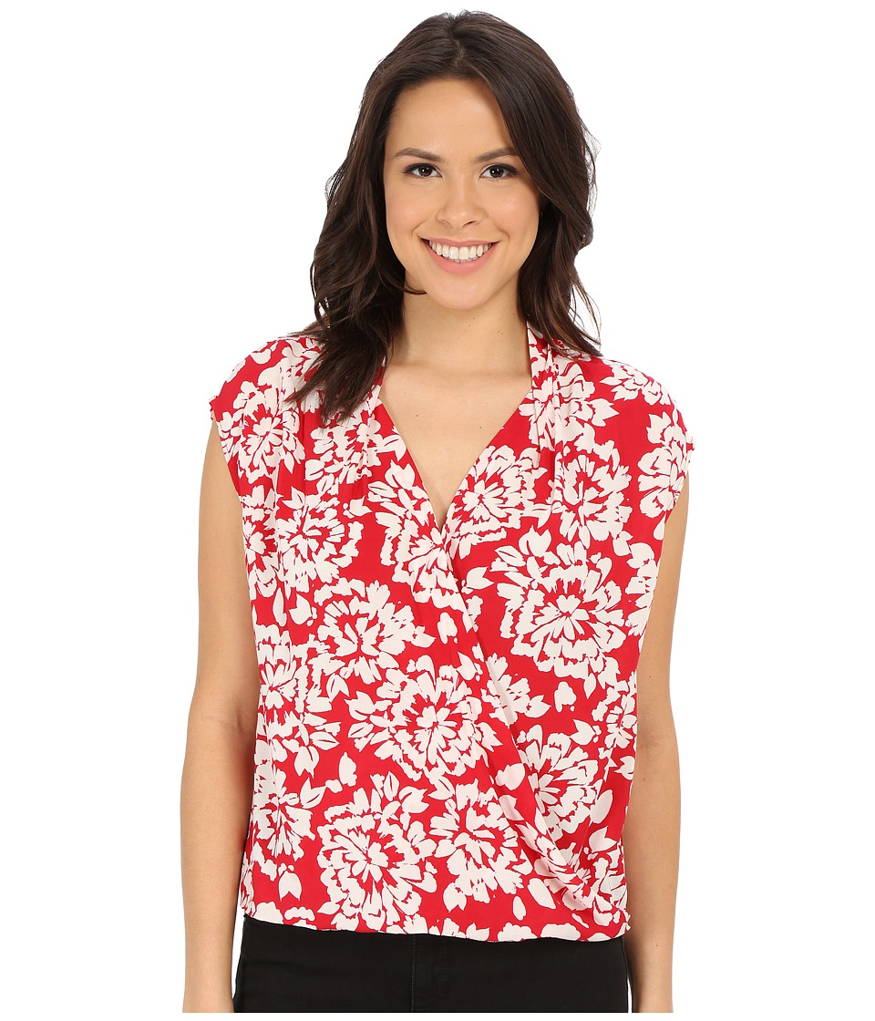 Velvet by Graham & Spencer - Cayne03 Challis Short Sleeve Blouse (Red/Ivory) Women's Blouse