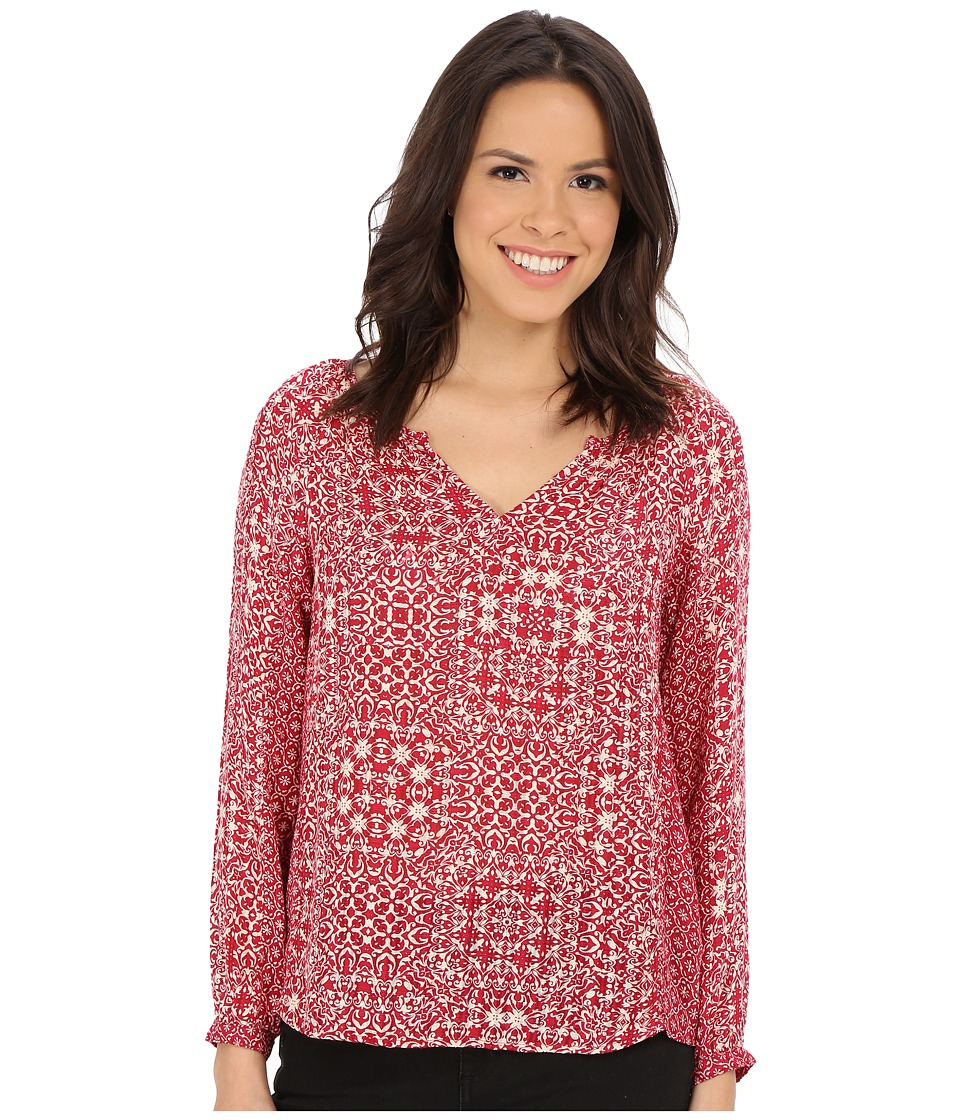 Velvet by Graham & Spencer - Tiamaria03 Casablanca Mixed Print Blouse (Red/Cream) Women's Blouse