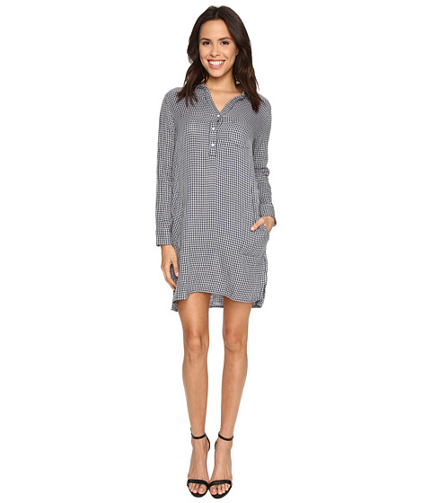 Velvet by Graham & Spencer - Allison03 Double Faced Stripe Shirtdress (Navy/Cream) Women