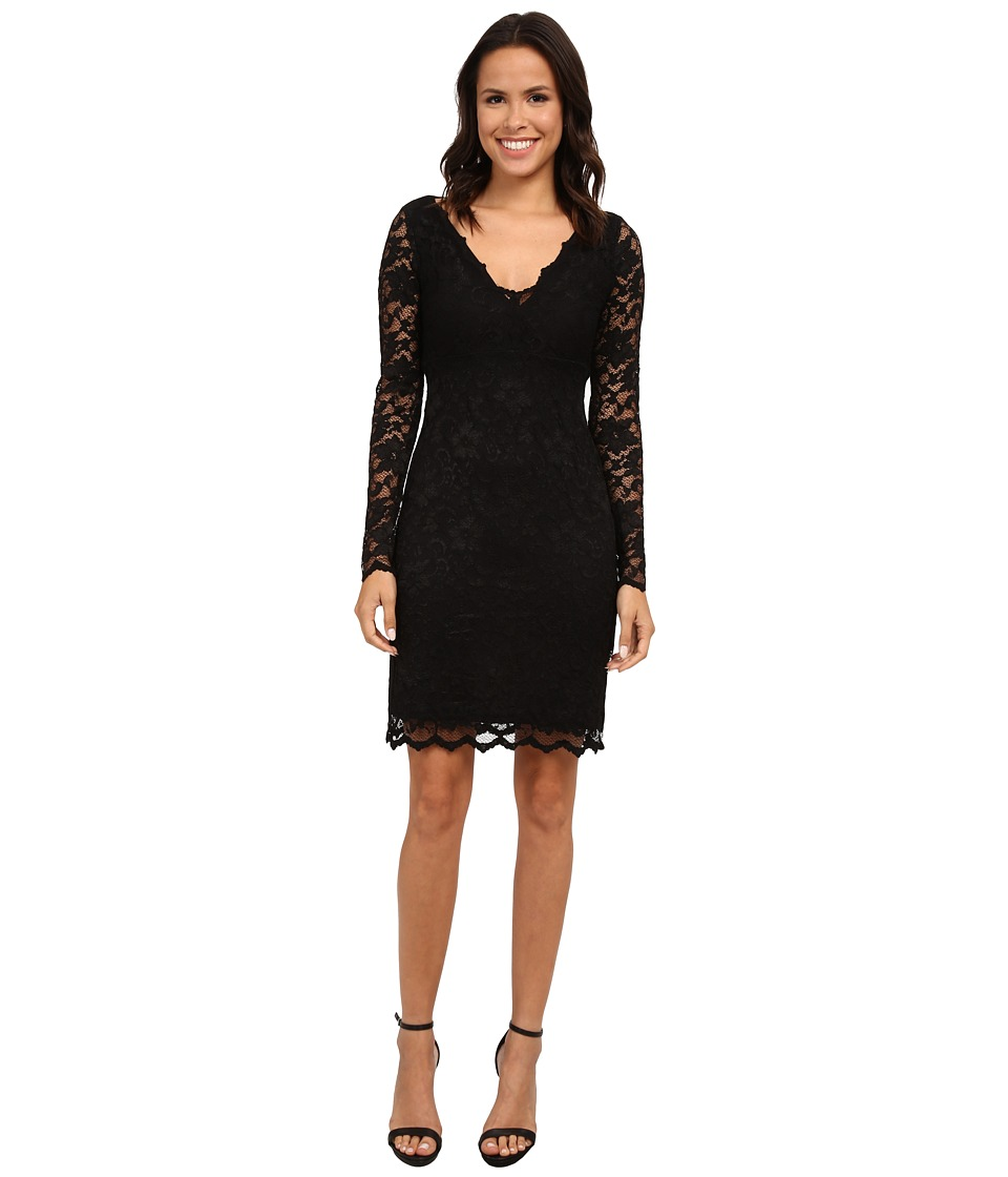 Karen Kane - Long Sleeve Scallop Lace Dress (Black/Black) Women
