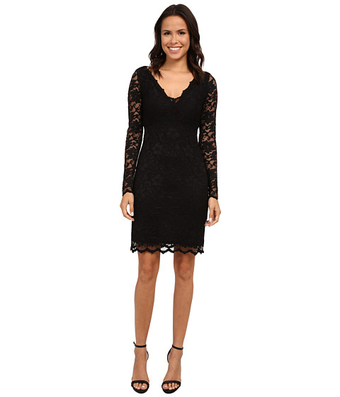 Karen Kane - Long Sleeve Scallop Lace Dress (Black/Black) Women's Dress