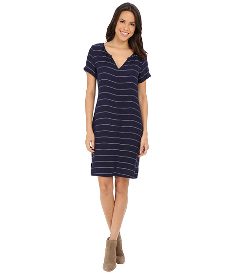 Velvet by Graham & Spencer - Ettie03 Soft Twill Stripe Dress (Navy/Cream) Women's Dress