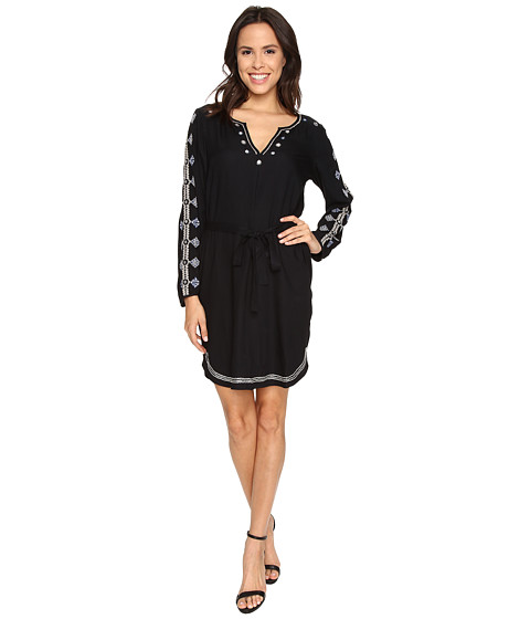 Velvet by Graham & Spencer - Belton03 Tibetan Embroidered Long Sleeve Dress (Vintage Black) Women