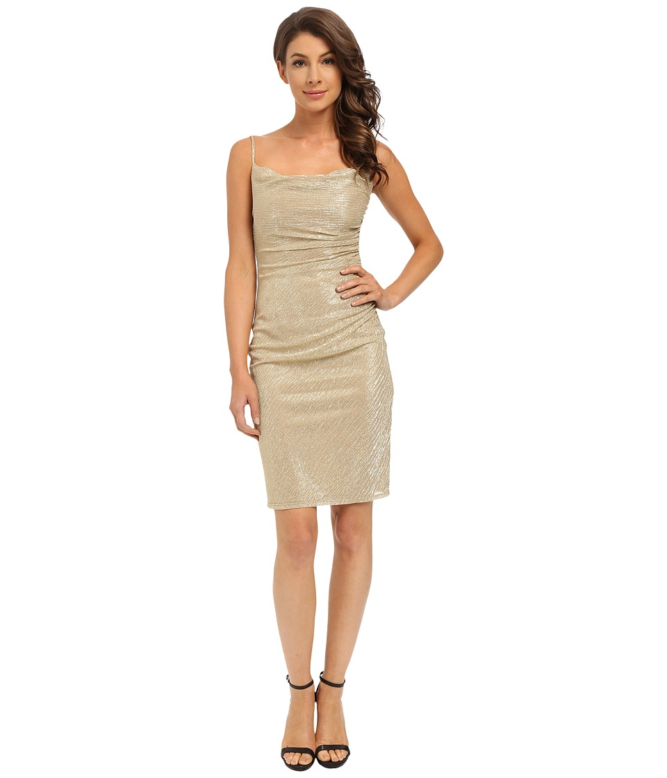 Laundry by Shelli Segal - Skinny Strap Side Shirred Dress (Gold) Women's Dress