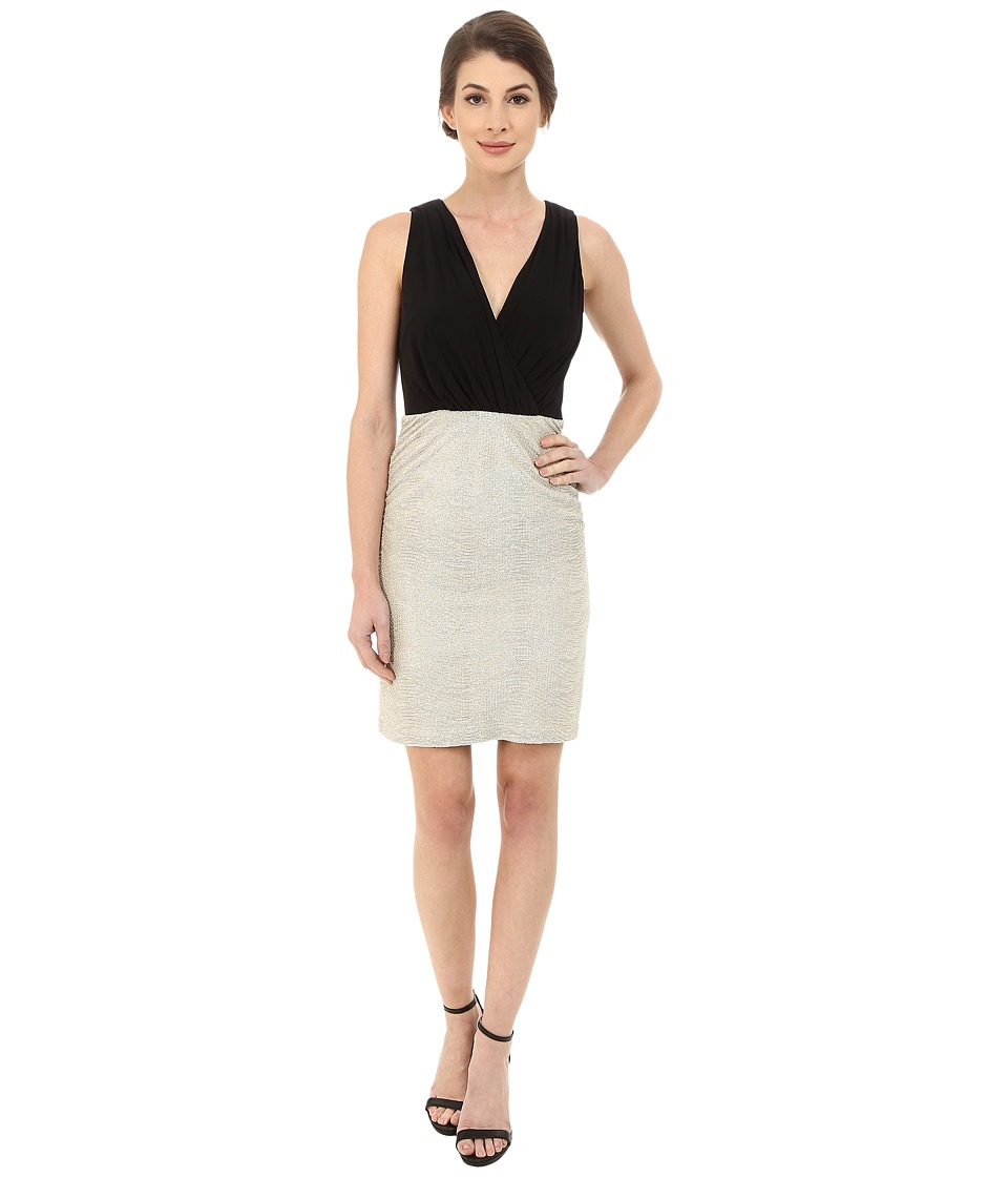 Laundry by Shelli Segal - V-Neck Peek A Boo Back Cocktail Dress with Matte Jersey Top (Gold/Silver) Women's Dress