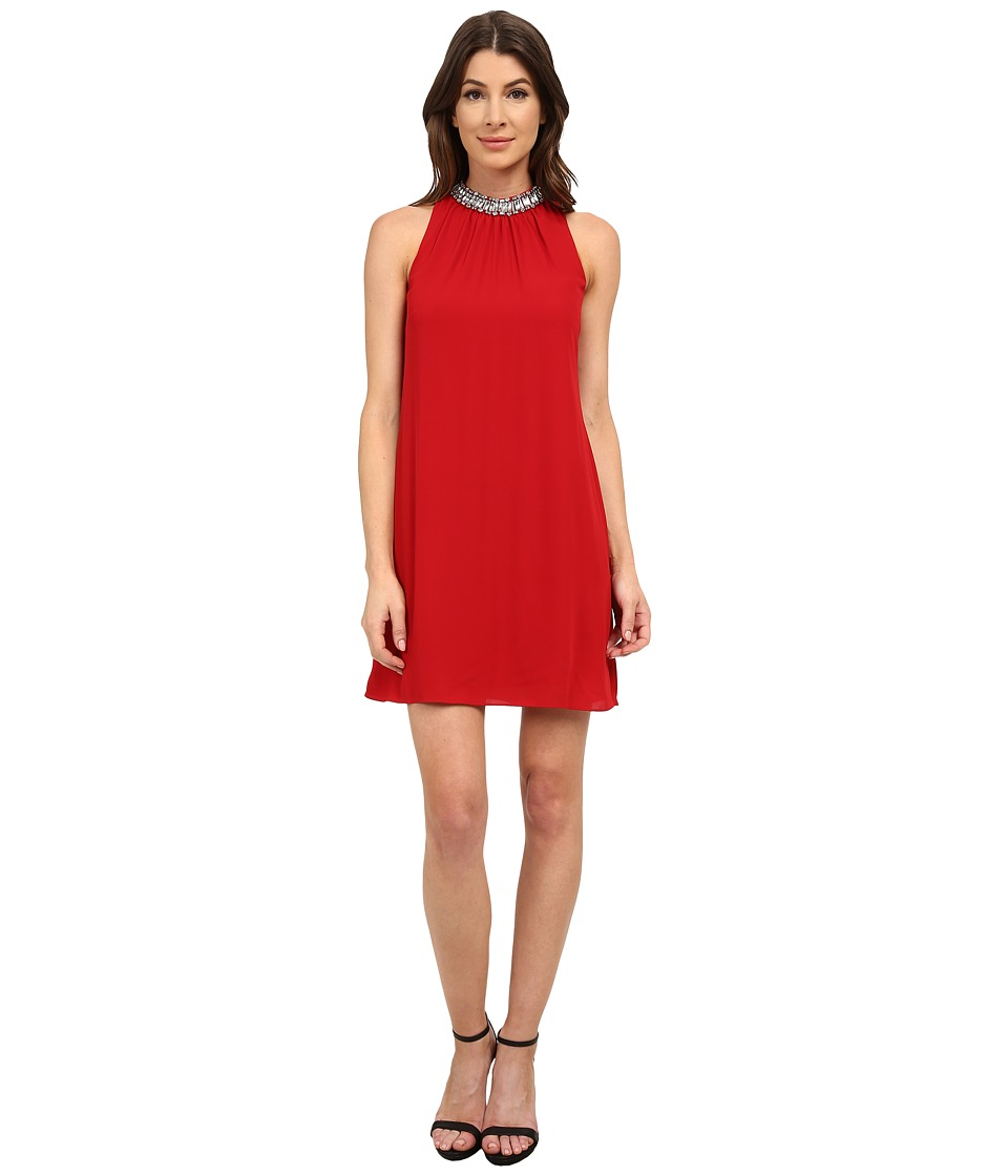 Laundry by Shelli Segal - Beaded Neck Sleeveless Georgette Cocktail Dress (Cherry) Women's Dress