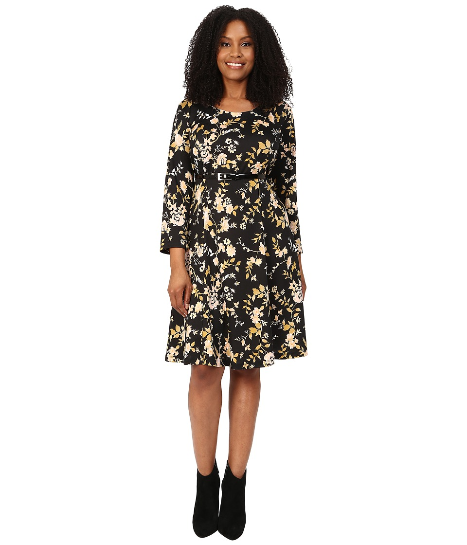 Poppy & Bloom - Plus Size A-Line 3/4 Sleeve Crew Neck Dress in Orange Bouquet (Black) Women's Dress