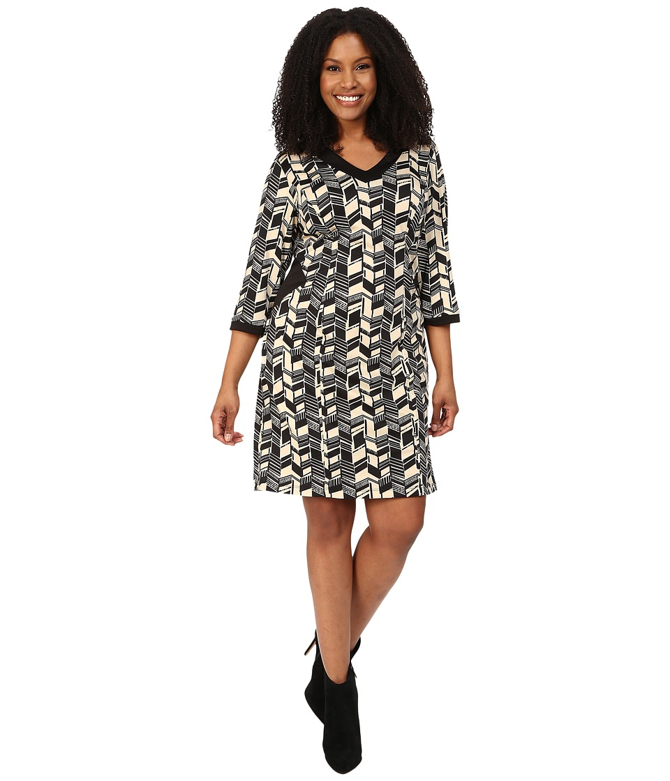 Poppy & Bloom - Plus Size Sheath Dress with Black Cut Outs in Black and White Print (White) Women's Dress