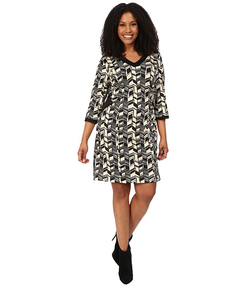 Poppy & Bloom - Plus Size Sheath Dress with Black Cut Outs in Black and White Print (White) Women