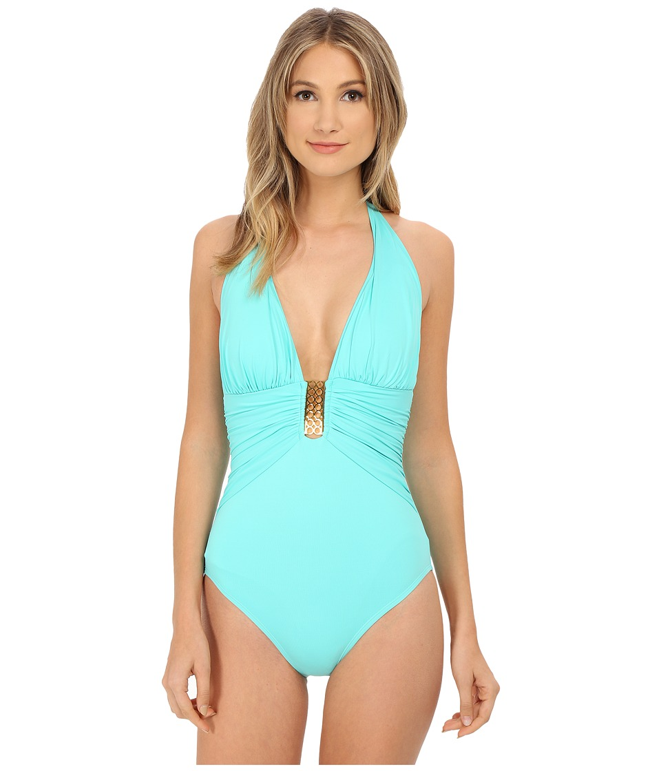 Bleu Rod Beattie - Gilt Trip Shirred Halter MIO One-Piece (Pool) Women's Swimsuits One Piece