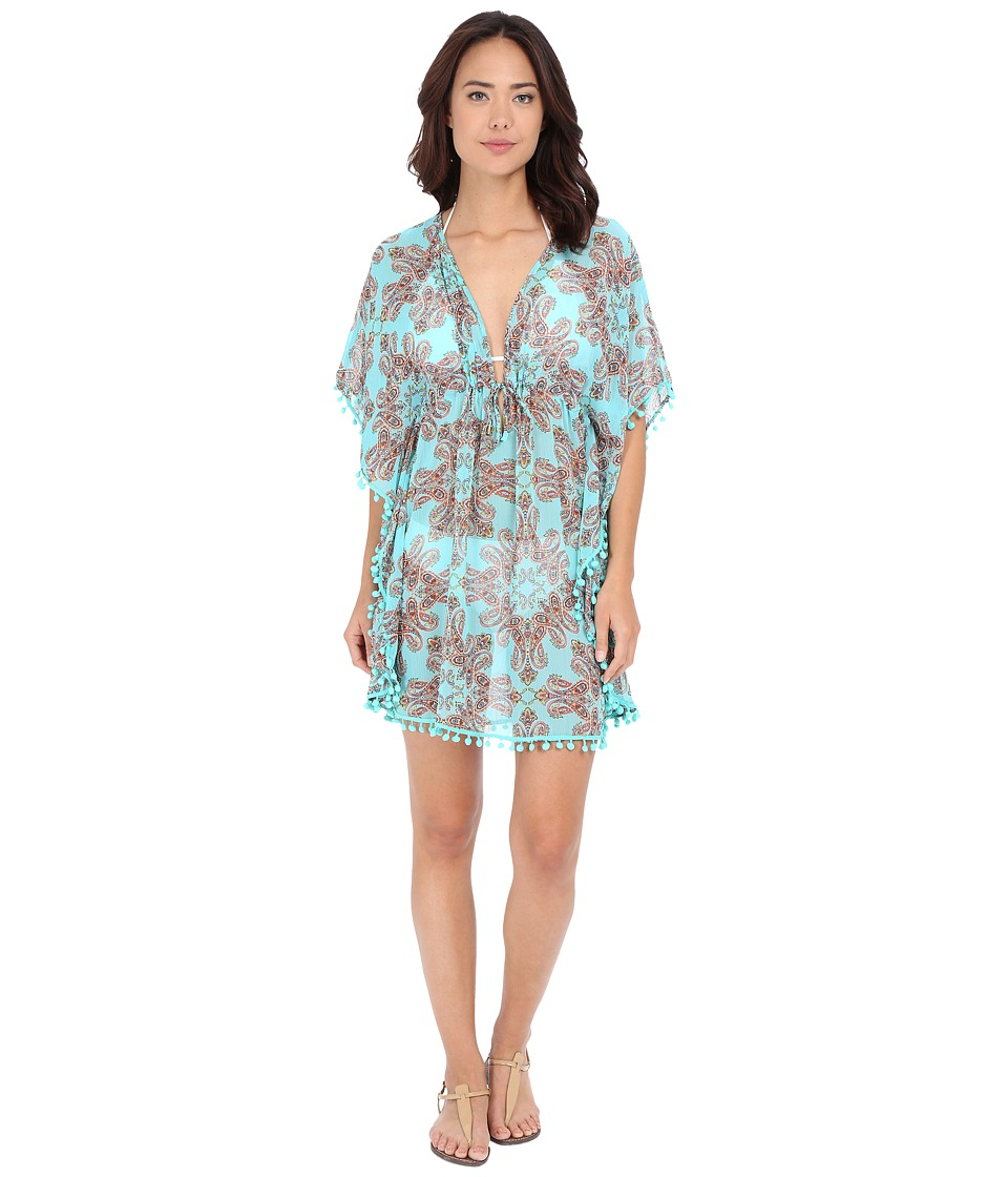 Bleu Rod Beattie - Driving Miss Paisley Caftan Cover-Up (Pool Multi) Women's Swimwear