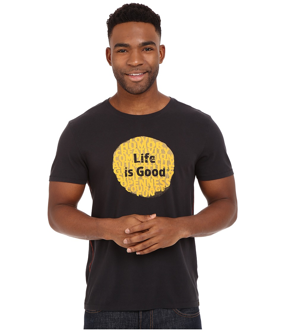 Life is good - Life Is Good Super Power Dot Newbury Tee (Night Black) Men's Short Sleeve Pullover