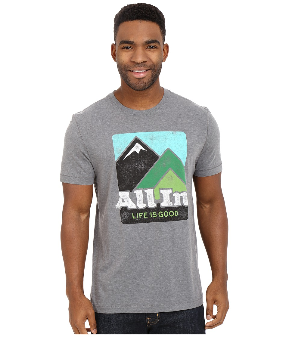 Life is Good - Life Is Good All In Mountains Cool Tee (Slate Gray) Men's T Shirt