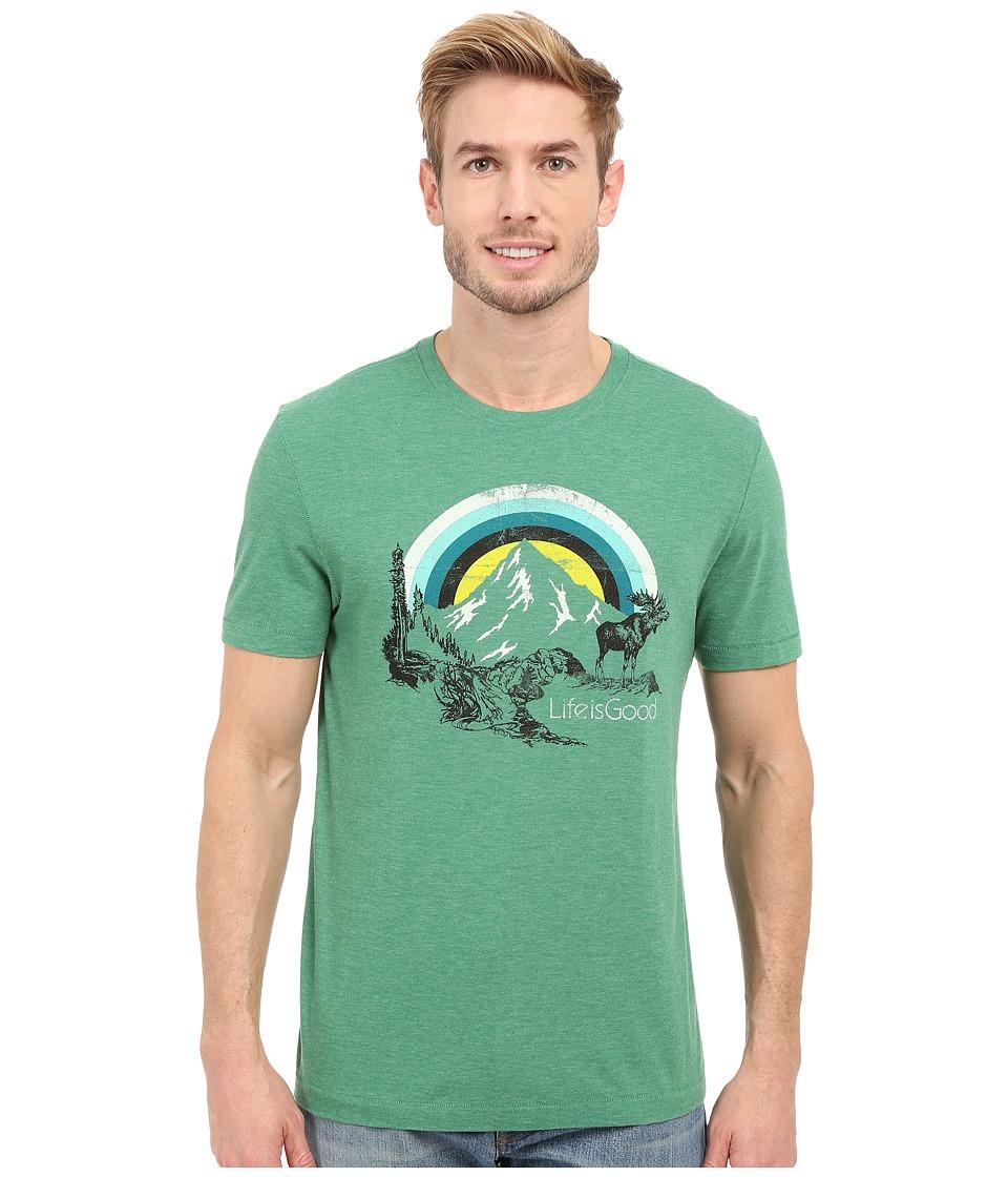 Life is Good - Life Is Good Stripe Sunset Moose Cool Tee (Emerald Green) Men's T Shirt