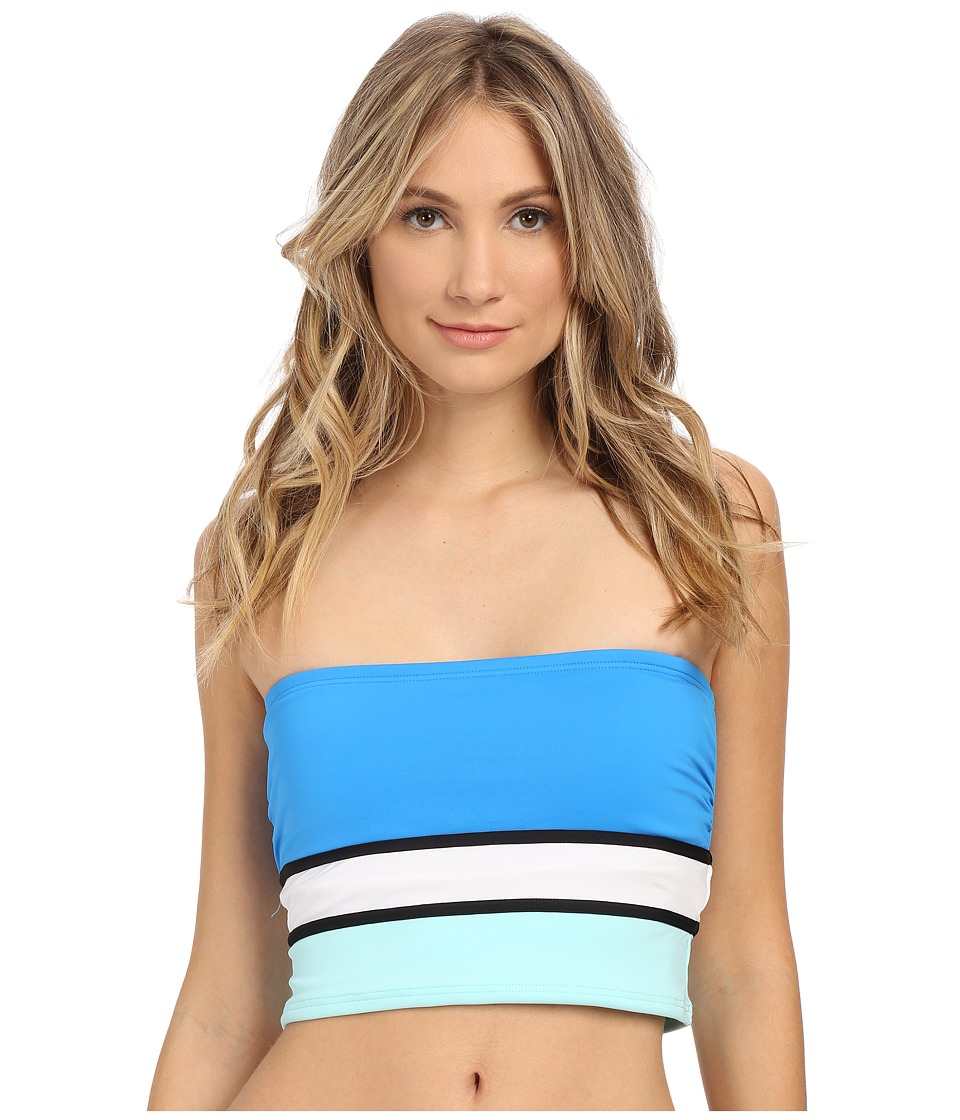 Vince Camuto - Beach Front Bandeau Crop Top w/ Removable Soft Cups (Cerulean) Women's Swimwear