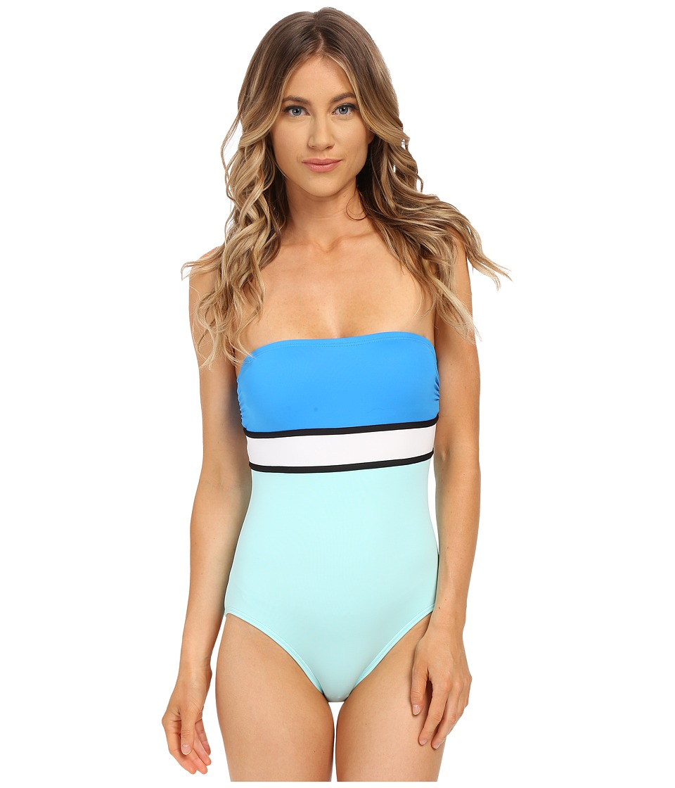 Vince Camuto - Beach Front Bandeau Maillot w/ Removable Soft Cups (Cerulean) Women's Swimsuits One Piece
