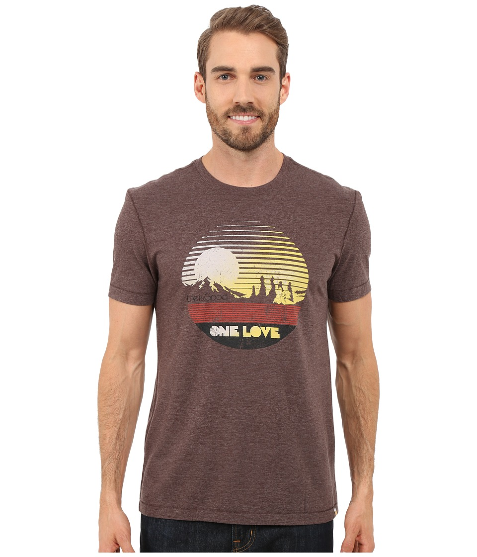 Life is good - One Love Sunset Circle Cool Tee (Deep Brown) Men's T Shirt