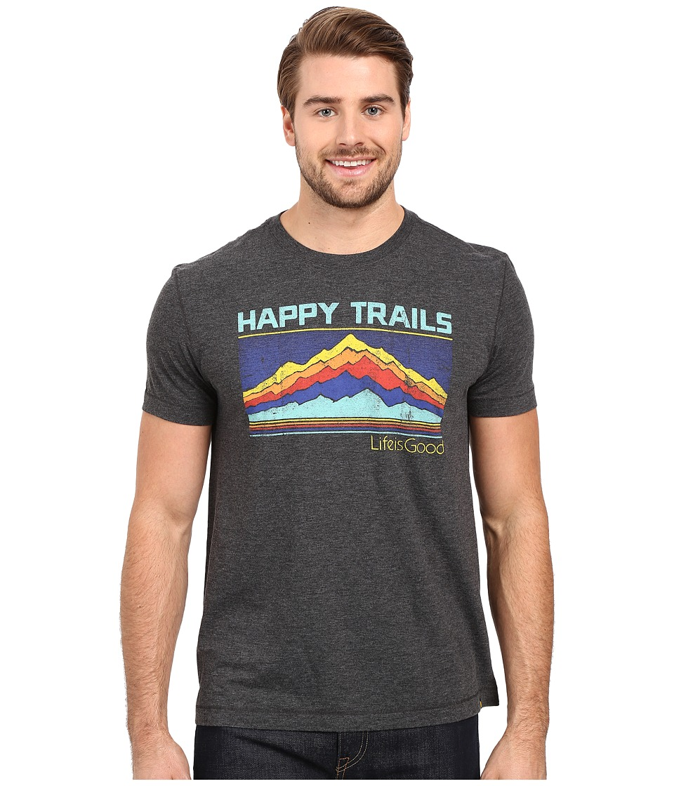 Life is good - Life Is Good Happy Trails Stripe Mountain Cool Tee (Night Black) Men's T Shirt