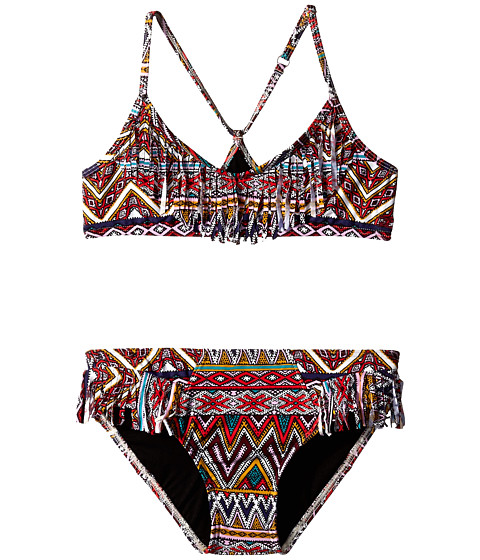 Billabong Kids - Sahara Sunset Fringe Halter Set (Little Kids/Big Kids) (Black Cherry) Girl's Swimwear Sets