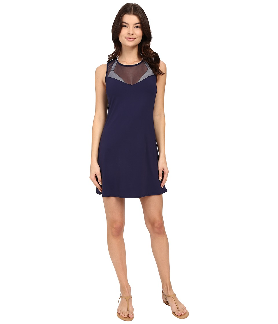 Vince Camuto - Luxe Mesh T-Shirt Mesh Dress Cover-Up (Navy) Women's Swimwear