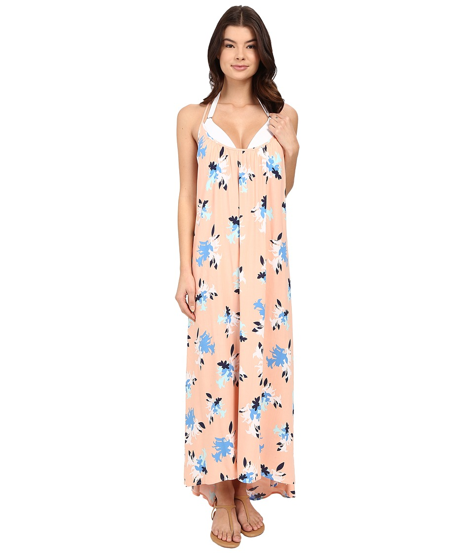 Vince Camuto - Floral Racerback Maxi Cover-Up Dress (Peach Rose) Women's Swimwear