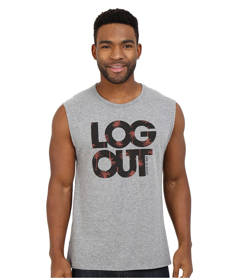 Life is Good - Log Out Palms Muscle Tee (Heather Gray) Men's Sleeveless