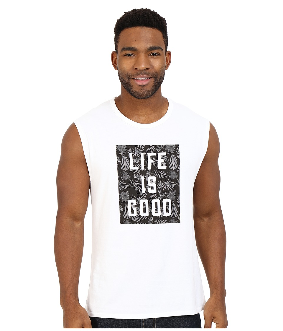 Life is good - Life is Good Block Muscle Tee (Cloud White) Men's Sleeveless