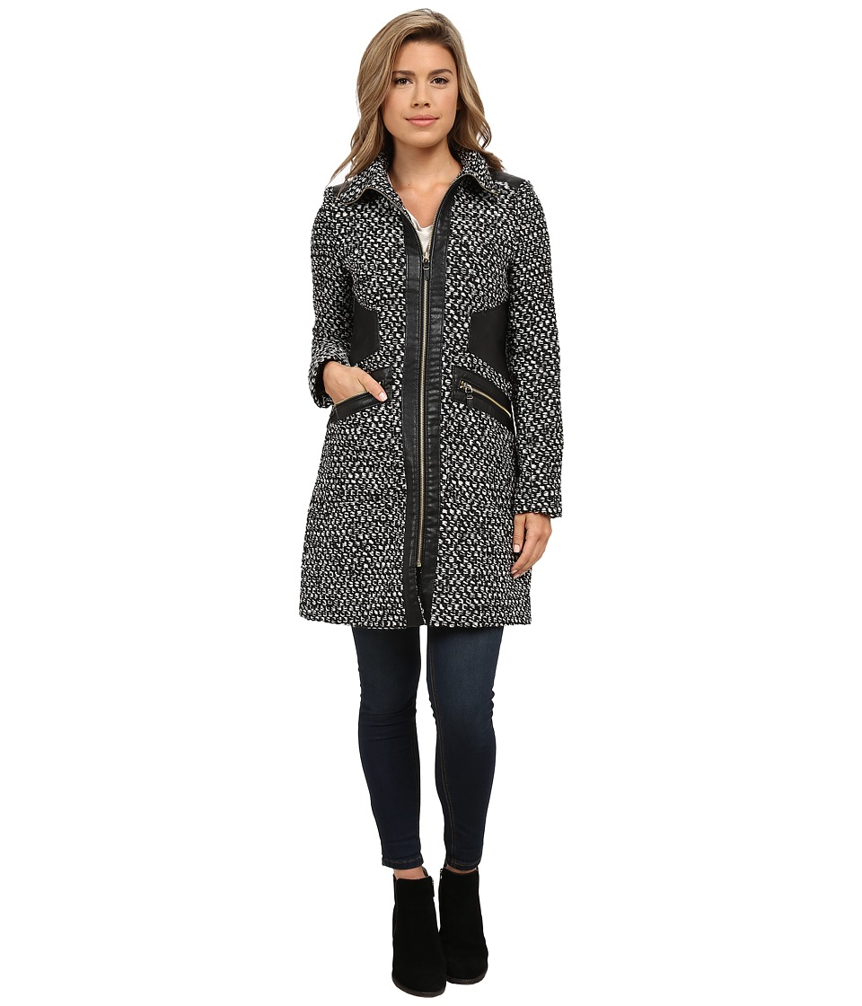Via Spiga - Tassle Popcorn w/ Faux Leather Detail (Black/White) Women's Coat