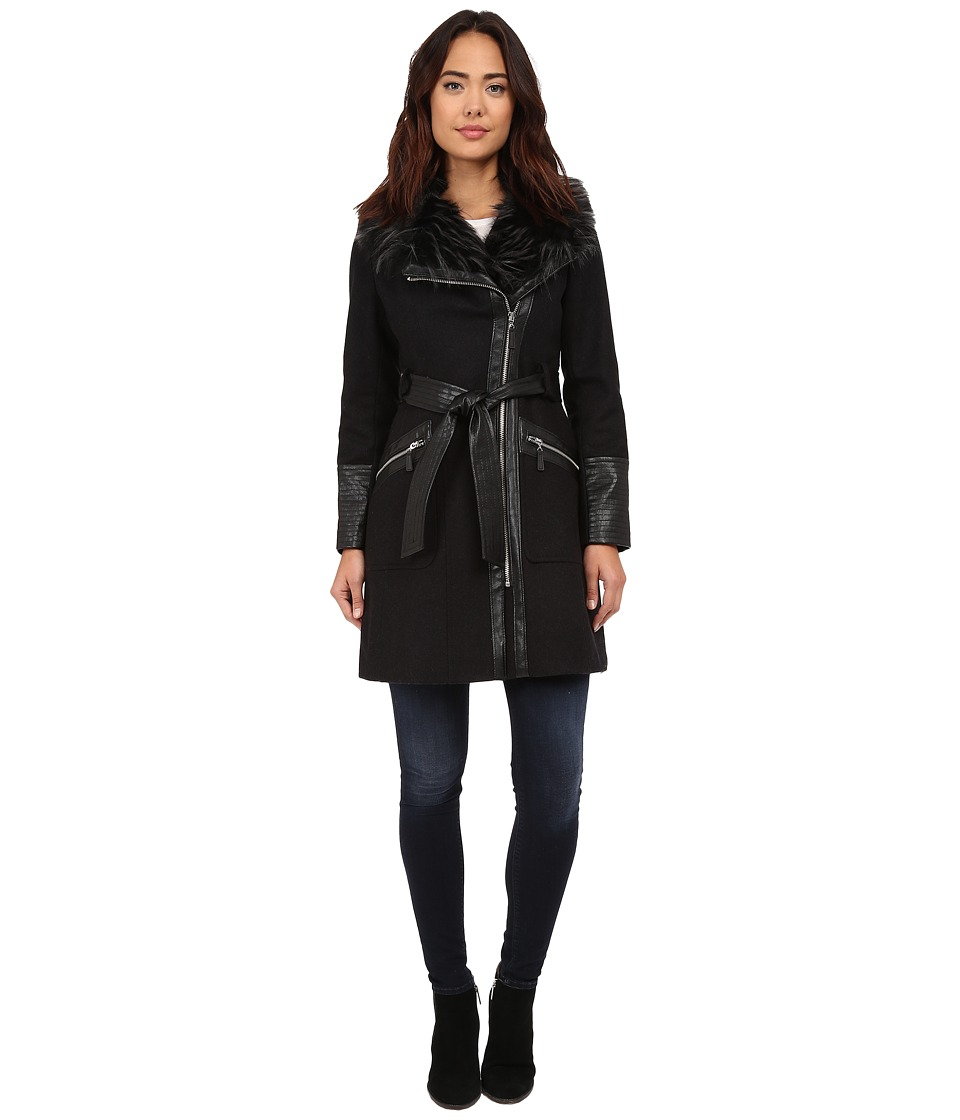 Via Spiga - Kate Middleton w/ Pleather Fur Sleeves (Charcoal) Women's Coat