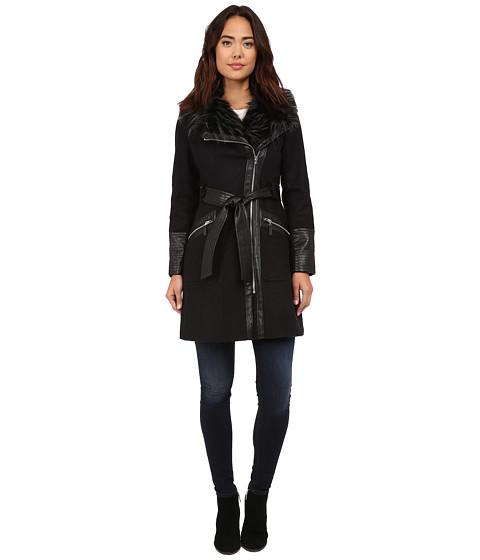 Via Spiga - Kate Middleton w/ Pleather Fur Sleeves (Charcoal) Women's Coat