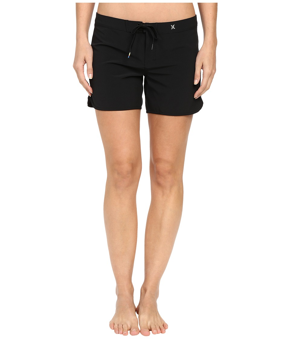 Hurley - Phantom Solid 5 Beachrider Boardshorts (Black) Women's Swimwear