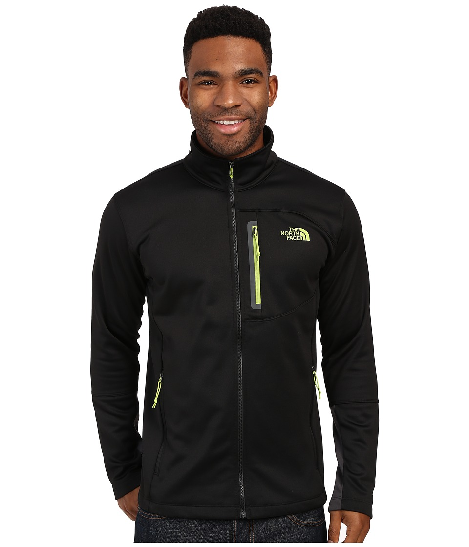The North Face - Canyonlands Full Zip Sweatshirt (TNF Black/Macaw Green) Men's Coat
