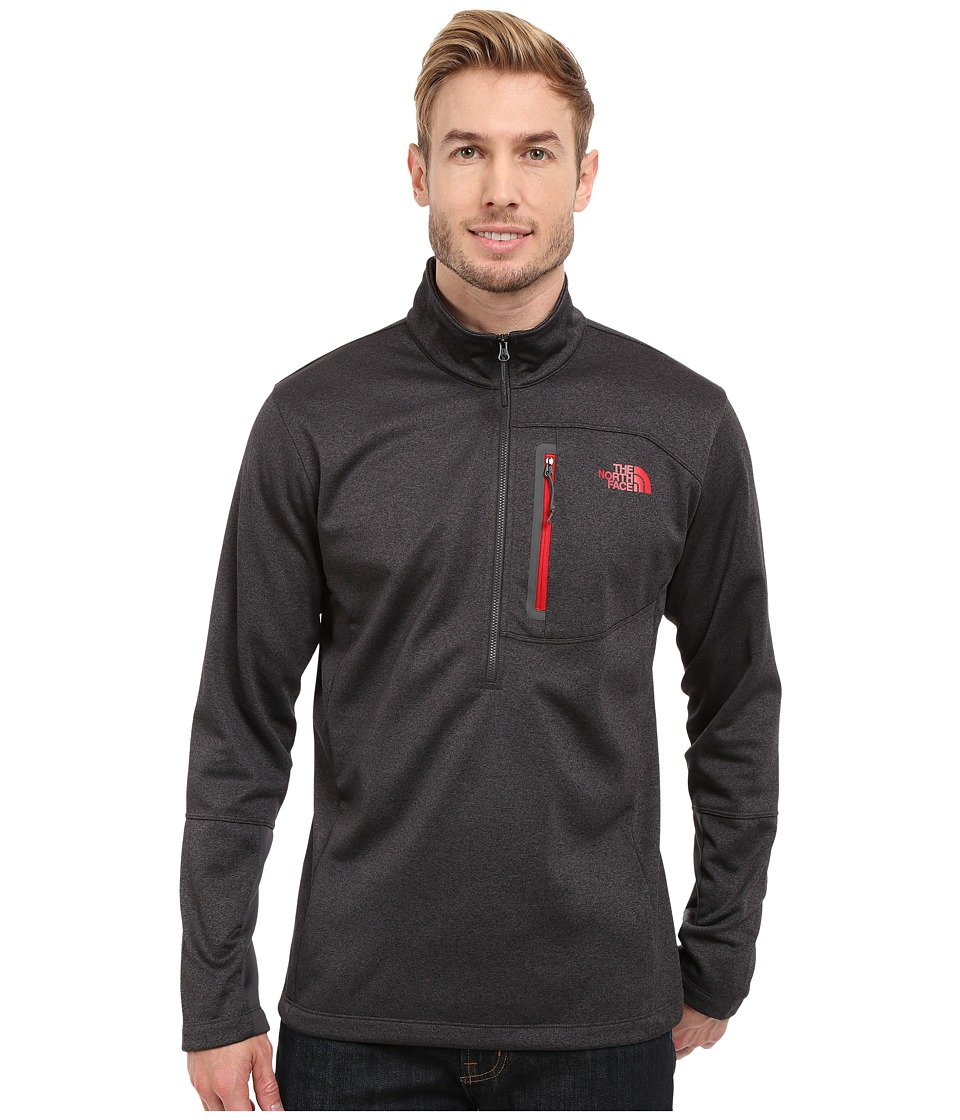 The North Face - Canyonlands 1/2 Zip Pullover (Asphalt Grey Heather/TNF Red) Men's Sweatshirt