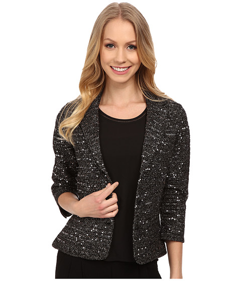 Adrianna Papell - Elbow Sleeve Lurex Sequins Jacket (Black) Women's Coat