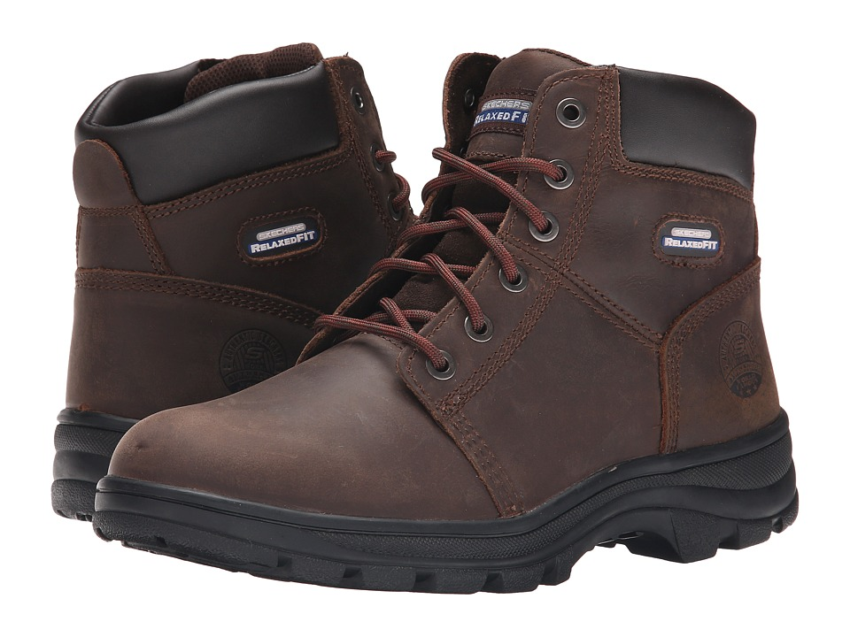 SKECHERS Work - Relaxed Fit Ruffneck (Chocolate Dark Brown) Men's Shoes