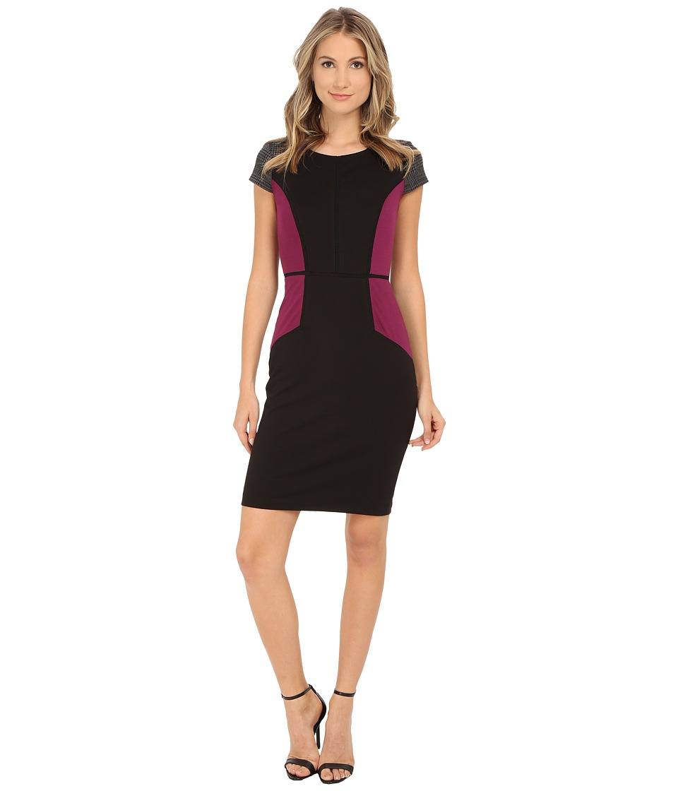 Sangria - Short Sleeve Color Block Sheath with Plaid Detail (Black/Cabernet) Women's Dress