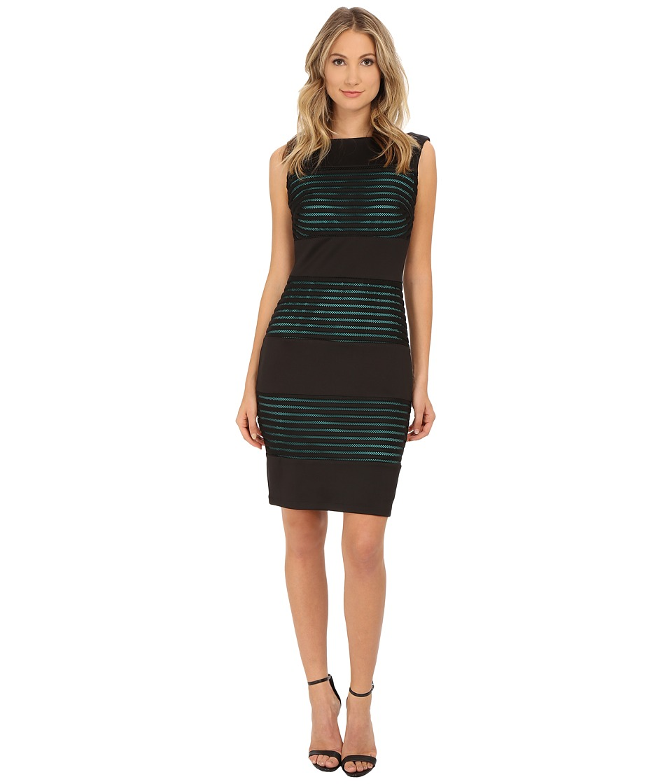 Sangria - Textured Stripe Sheath with Contrast Lining (Black/Veridian) Women