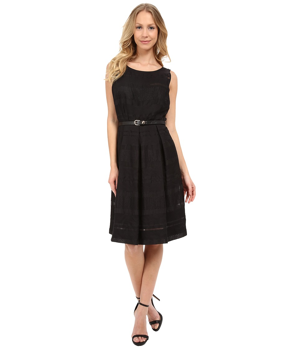 Sangria - Textured Fit Flare with Belt (Black) Women's Dress