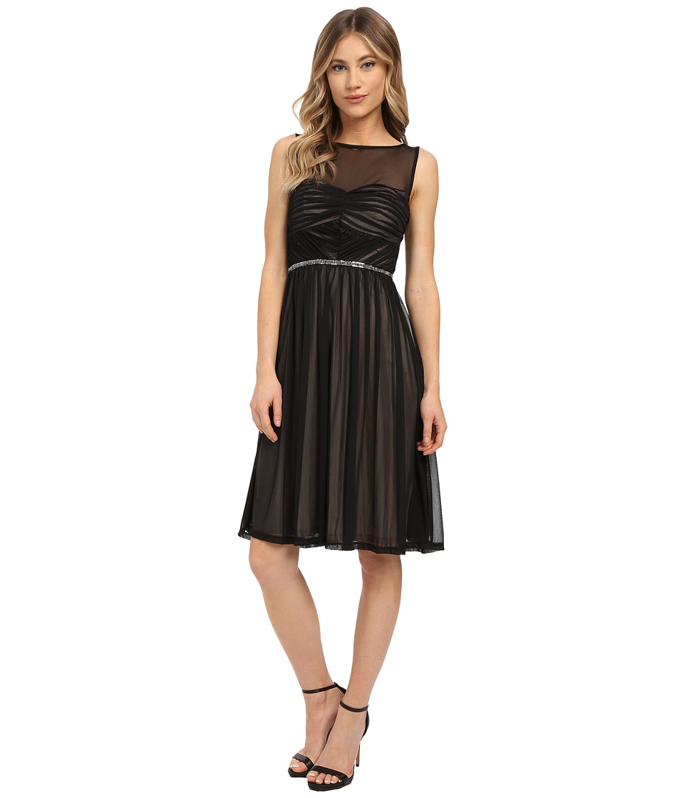Sangria - Sheer Mesh Illusion Yoke Fit Flare with Embellished Waist (Black/Stone) Women's Dress