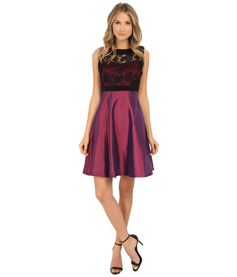 Sangria - Lace Taffetta Fit Flare (Black/Cabernet) Women's Dress