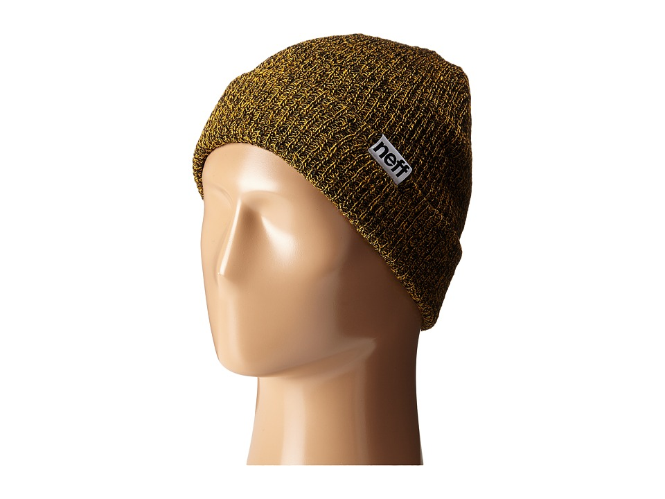 Neff - Fold Heather Beanie (Black/Mustard) Beanies