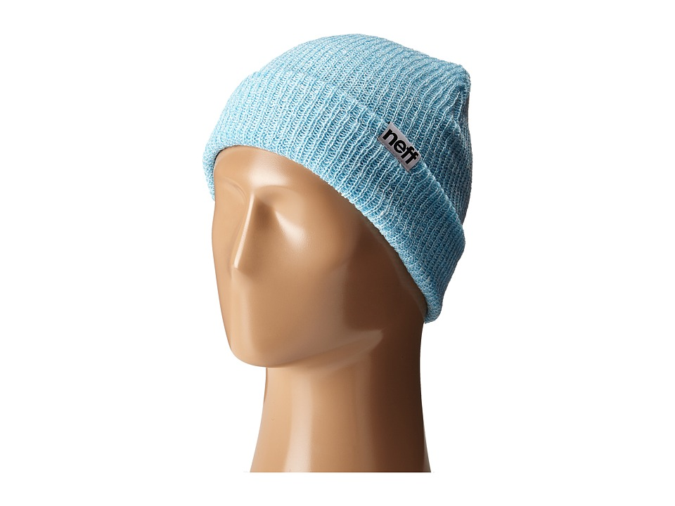 Neff - Fold Heather Beanie (Light Blue/White) Beanies