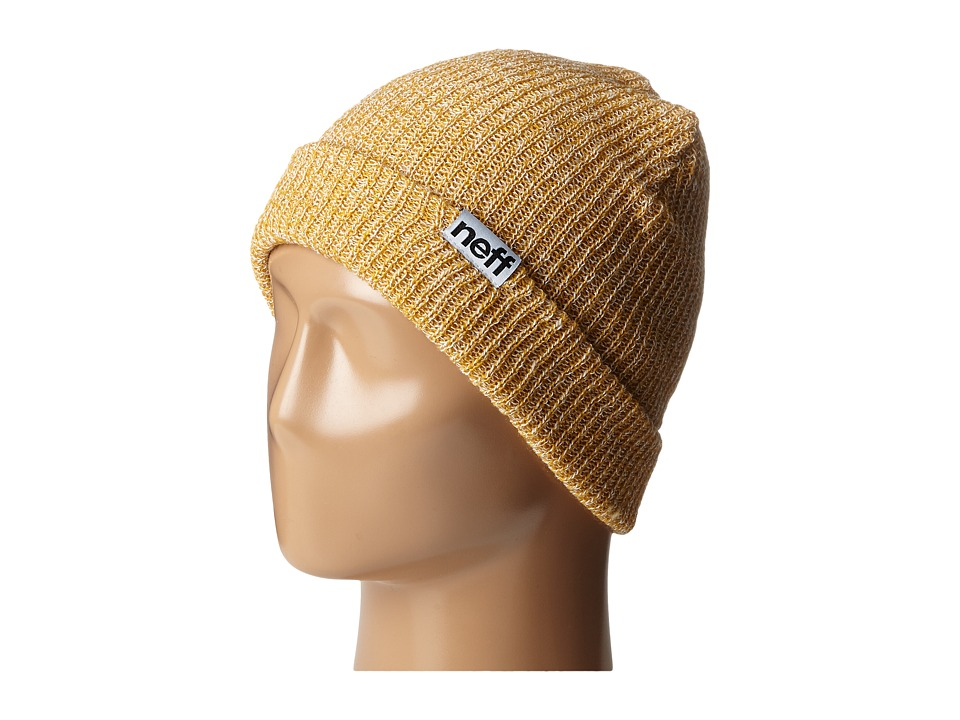 Neff - Fold Heather Beanie (Mustard/White) Beanies