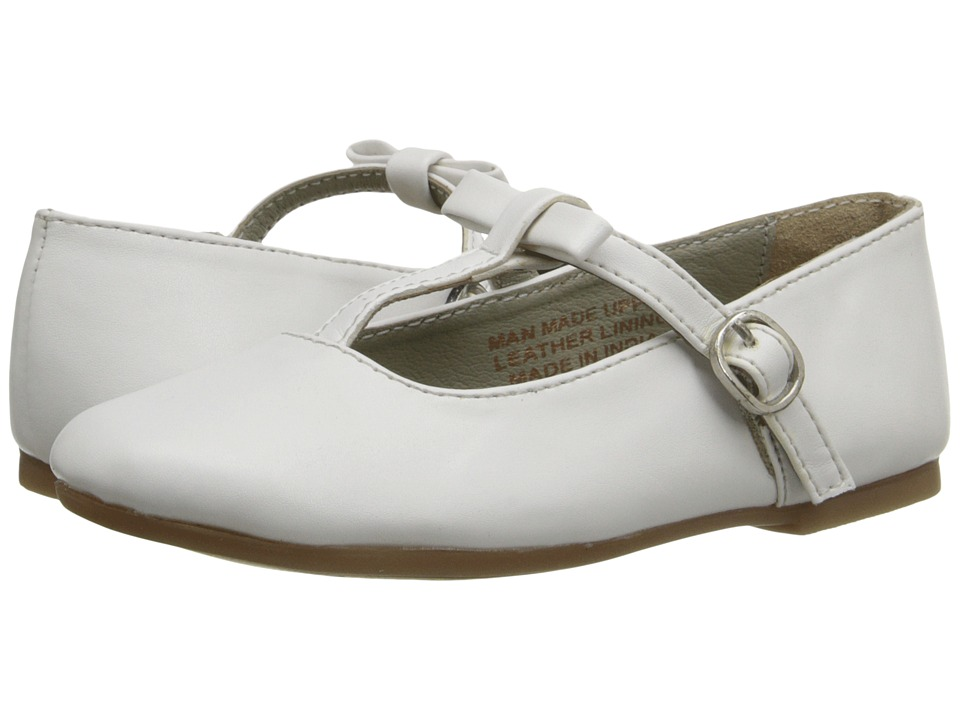 Pazitos - T-Bow MJ PU (Little Kid) (White) Girls Shoes
