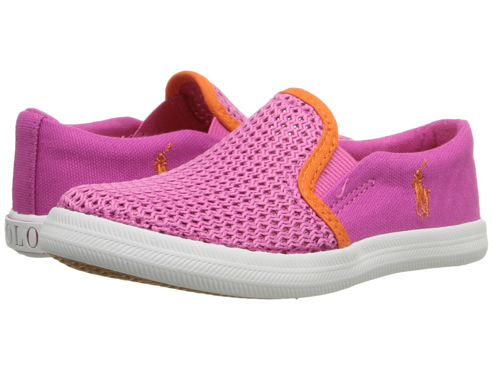 Polo Ralph Lauren Kids - Benton (Toddler) (Regatta Pink Canvas/Mesh/Orange) Girls Shoes