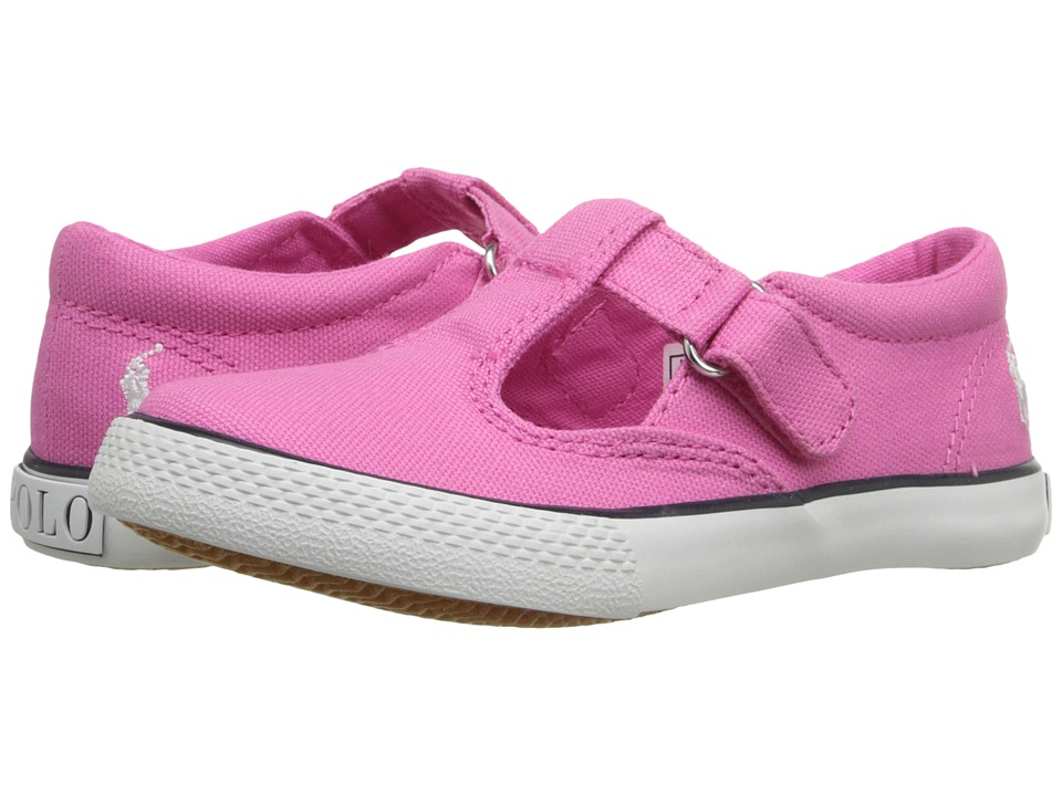 Polo Ralph Lauren Kids - Tabby T-Strap (Toddler) (Light Pink Canvas/White Pinstripe) Girl's Shoes